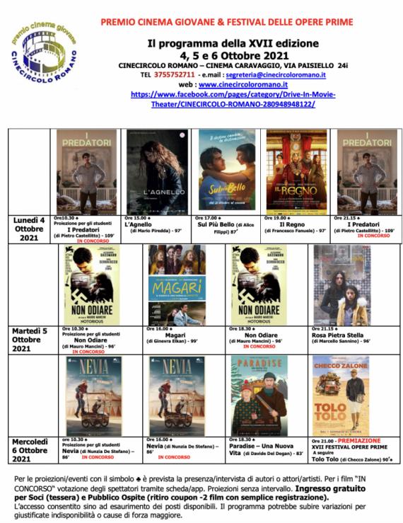 Remind Cinema: a Roma da domani al 6 ottobre torna il Premio Cinema Giovane & Festival delle Opere Prime 1